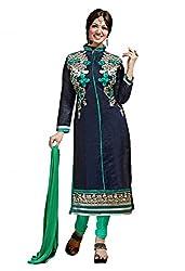 SR Women's Cotton Unstitched Dress Material (Nevy Blue Top Green Bottom Duptta)