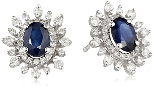14k-White-Gold-Oval-Sapphire-with-Diamond-Sunburst-Stud-Earrings-38cttw-I-J-Color-I2-I3-Clarity