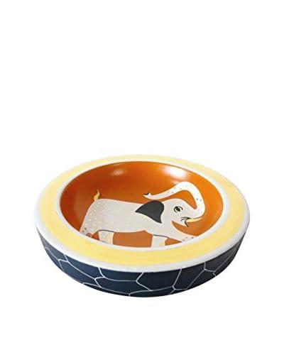Waylande Gregory Africa Elephant Medium Round Dish, Orange/Gold