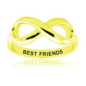 Tioneer Sterling Silver Gold Plated Best Friends Infinity Ring - Size 10