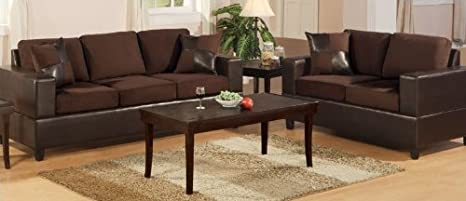 2pcs Sofa Set - Contemporary Chocolate Color