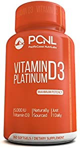 PacificCoast NutriLabs 5000 IU Vitamin D3 Supplement, (Cholecalciferol), Pure, Free Ebook, 360 Count, 1-Year Supply