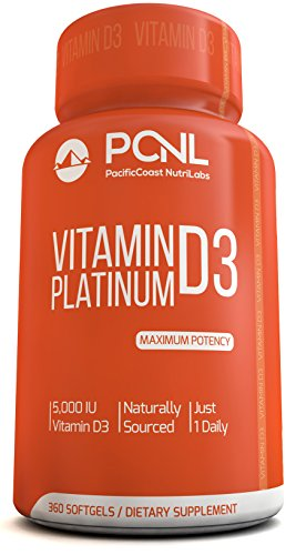PacificCoast NutriLabs 5000 IU Vitamin D3 Supplement, (Cholecalciferol), Pure, Free Ebook, 360 Count, 1-Year Supply (Vitamin D Eczema compare prices)