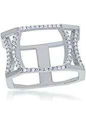 Sterling Silver CZ Wide Bars Ring