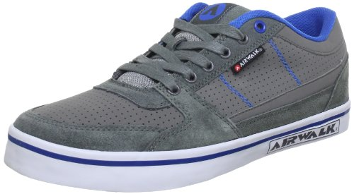 Airwalk TIME PU DARK GREY Trainers Mens Gray Grau (Grau/Blau 121) Size: 7 (41 EU)