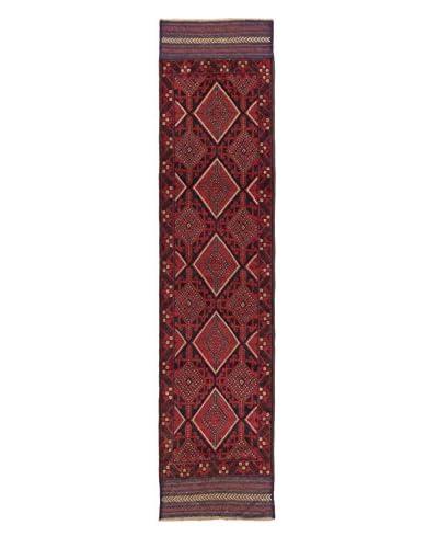 Hand-Knotted Tajik Caucasian Wool Rug, Dark Navy/Red, Dark Navy/Red, 2' x 8' 10 Runner