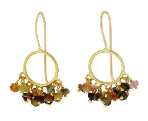 Pomegranate Vermeil Multi Tourmaline Small Circle Earrings