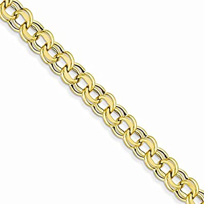 14K Gold Lite 8mm Double Link Charm Bracelet 8.25 Inches