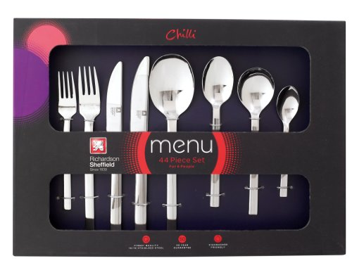 Menu From Richardson Sheffield Uk Chili 44 Piece Boxed Flatware Set For 6 People