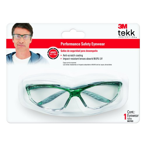 3M 90703-80025T Tekk Protection Sports-Inspired Safety Eyewear with Clear Lens and Green Frame