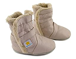 Ministar Girls and Boys Baby Infant Toddler Prewalker early walking Leather Shoes fur lined boots - Beige - XL 18-24 mo.