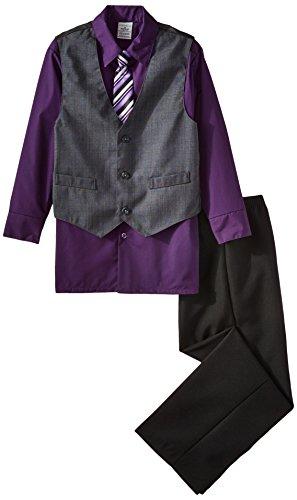 Perry Ellis Big Boys' Plaid Vest Set, Black Currant, 16