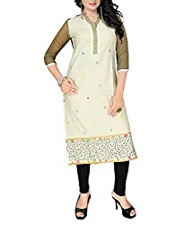 Trendistan Women's Cotton Straight Kurti(bb7m_Off-White_M)