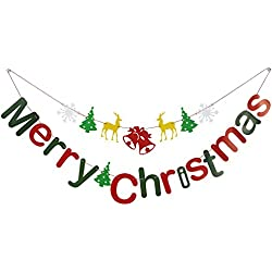 Cxy DIY Merry Christmas Banners Bunting Garlands for Holiday Party Decoration, Christmas Home Decor.