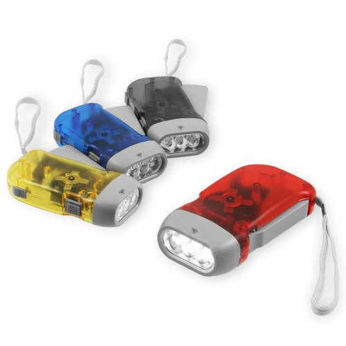 Chromo Inc® Immedia-Light Hand Crank Flashlight 4 Pack For Immediate Emergency, Home Or Car Light - Green Energy. No-Battery Required And Translucent Case With 3 Led Pure Whitelight Hand-Powered.