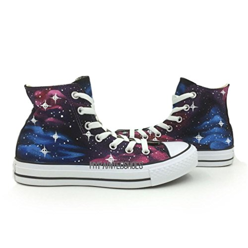 Blue/Purple Galaxy Unisex Converse All Star Hand Painting on High Top Canvas Shoes