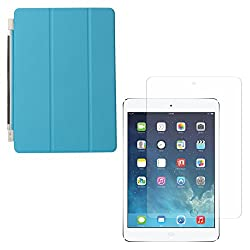 DMG Ultra Slim Magnetic Smart Shell Stand Cover Case for Apple iPad Air (Light Blue) + Tempered Glass Screen Protector