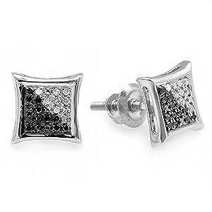 0.10 Carat (ctw) 14K White Gold White & Black Round Diamond Micro Pave Setting Kite Shape Stud Earrings 1/10 CT