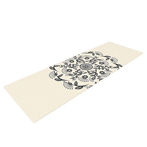Kess InHouse Famenxt 'Black and White Decorative Mandala' Yoga Exercise Mat, Geometric, 72 x 24-Inch [並行輸入品]