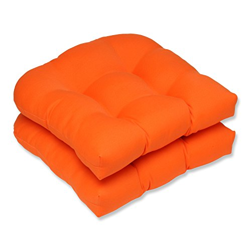 Pillow Perfect Indoor/Outdoor Sundeck Wicker Seat Cushion, Orange, Set of 2 (Orange Outdoor Cushions compare prices)
