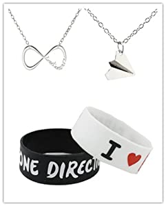 One Direction Fans Lover Set - Infinite Directioner Necklace Harry Styles Airplane Necklace 2pcs I Love 1d Wristband by Fun Daisy Jewelry