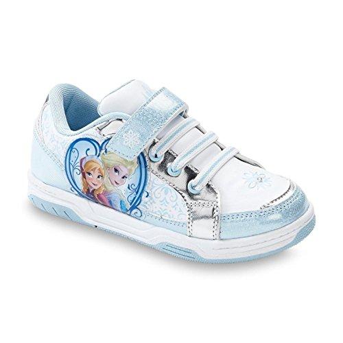 Disney Frozen Toddler/youth Girl's Sneaker Court Anna & Elsa , White/blue/silver , Light-up