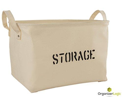 Storage Organization by OrganizerLogic – Storage Baskets made from Eco-Friendly Twill. Universal Household Storage Organizer. Works as Baby Storage and Toy Organizer. Nursery Baskets fit most shelves