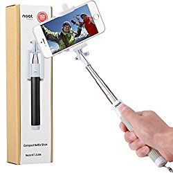 Compact Selfie Stick, NOOT PRODUCTS® Compact Series Foldable Portable [Pocket Size] Self-Portrait Monopod Extendable Selfie stick with built-in Bluetooth Remote Shutter for Apple iPhone and Android Smartphone - Grey