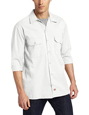 Dickies Men's Long Sleeve Work Shirt, White, Small