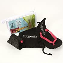 Footzy Rolls Rollable Travel Flip Flops Set L 9-10 Pink