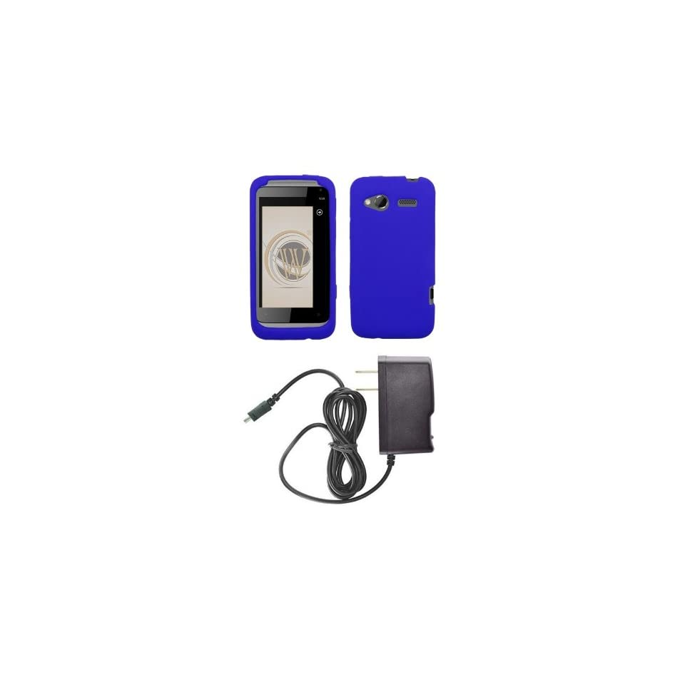 HTC Radar 4G (T Mobile) Premium Combo Pack   Blue Silicone Soft Skin Case Cover + ATOM LED Keychain Light + Wall Charger
