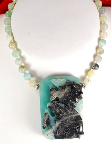 Natural Amazonite & Carved Fish Pendant Silver Necklace N2_0716_20