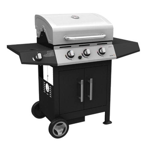 Barbecue BBQ a gas acciaio 3 bruciatori con pietra lavica dispensa ruote G45129