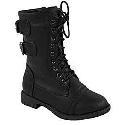 Lucky Top Pack-72K Girls Military Lace Up Mid Calf Boot Black 11