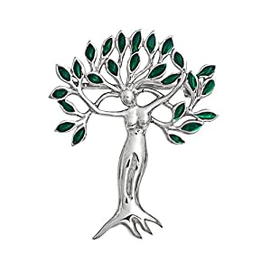 Bling Jewelry Emerald Color Leaves Tree of Life Goddess Brooch Pin 925 Sterling