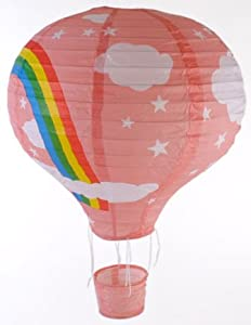 Rainbow Hot Air Balloon Ceiling Light (Paper Lantern Lamp Shade) - PINK from Gadget and Gift Zone