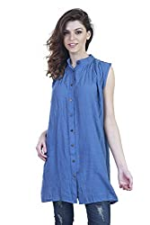 Showoff Women's Solid Blue Cotton Top