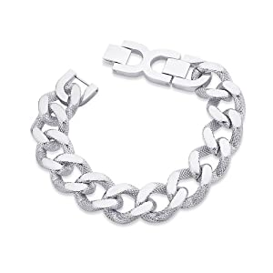 Peora Valentine Stainless Steel Heavy Duty Textured Curb Link Biker Men Bracelet w/ Fold Over Clasp (PSB670) available at Amazon for Rs.1400