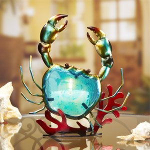 Colored Glass Metal Candle Holder - Blue Crab