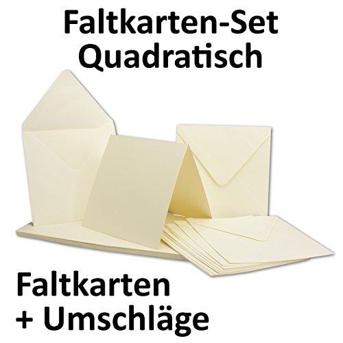 quadratische karten inklusive briefumschl ge 50er set blanko einladungskarten in creme wei. Black Bedroom Furniture Sets. Home Design Ideas