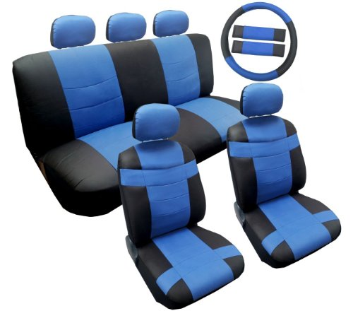 Two Tone Premium Sport Black and Blue Synthetic PU Faux Leather Seat Cover Set 14pc Toyota Corolla