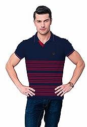League Men's Collar T- Shirt (F_509_XX-Large_Blue)