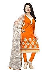 Subhash Sarees Daily Wear Orange Color Chanderi Salwar Suit Dress Material