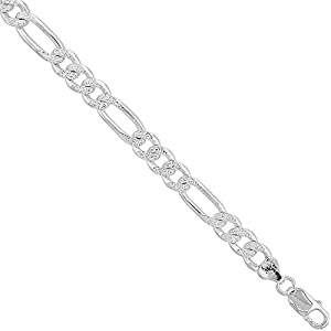 Sterling Silver FIGARO Chain Bracelet 8mm Pave diamond cut Beveled Edges Nickel Free Italy, 7 inch
