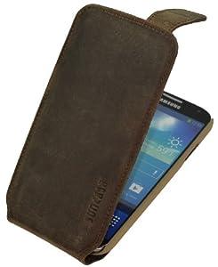 Samsung Galaxy S4 (i9505) / Flip-Style Ledertasche Tasche *ECHT LEDER* Handytasche Case Etui Hülle (Original Suncase®) antik-braun (sand)