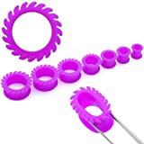 Fashion Ear Plugs - Neon Purple Flare Jelly Ear Tunnels (3/4 Gauge) - Body Jewelry (2 pc)