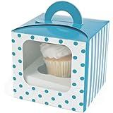 Turquoise Polka Dot Cupcake Boxes (12 pc)