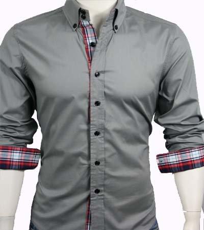 GL Fashions Men's Casual Long Sleeve Dress Shirt - Grey - L