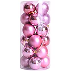Christmas Ball Ornaments 2.36 Inch Exquisite Colorful Balls Decorations Pack of 24pcs Pink