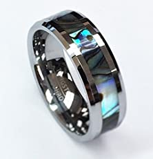 buy 8 Mm Polished Beveled Edge With Mother Of Pearl Inlay Unisex Tungsten Carbide Wedding Band Ring Mop623-11